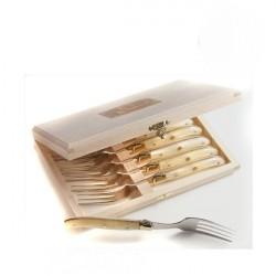 Coffret Excellence 6 fourchettes à gateau Nacrine naturelle