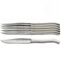 Excellence 6er Set Messer ganz aus Edelstahl, poliert, handgemacht, in Holzschatulle