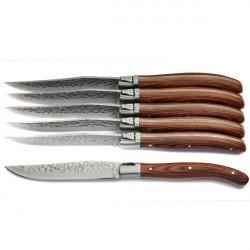 Estuche lujo 6 cuchillos mango madera exótica, brut aspecto
