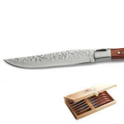 Luxury boxed set of 6 steak knives, exotic wood handle, rawness aspect blade