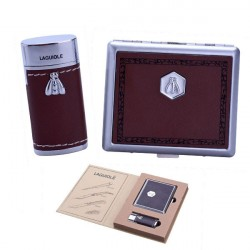 Elégant lighter  and cigarette case, leather aspect