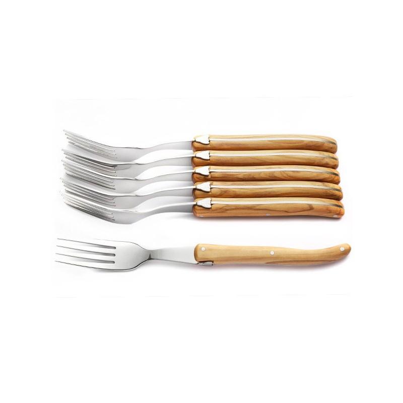 Coffret Excellence 6 fourchettes bois d'olivier