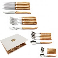 24 piece Luxury boxed set of olive wood handle