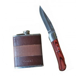 wood handle hunting knife, with hip flask.
