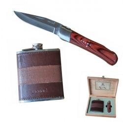 19cm Holzgriff Jagdmesser mit Flasche