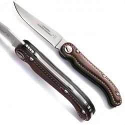 Couteau Collection Sellier cuir marron lame acier ou noir mat