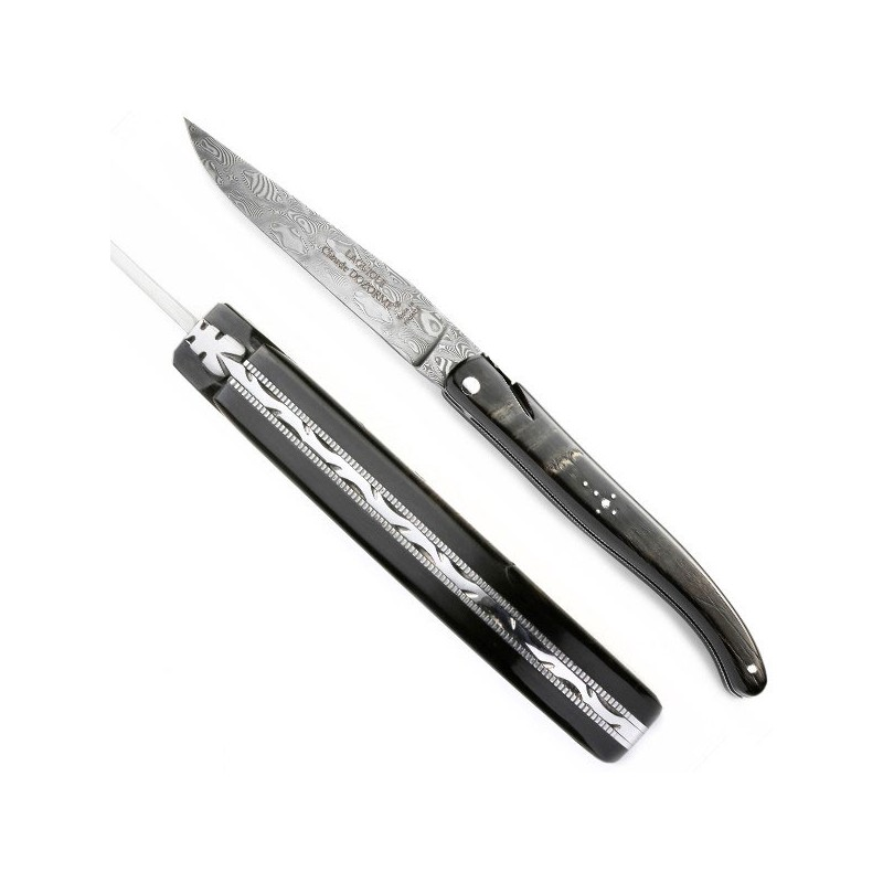 Cuchillo Damasco Colección cuerno de bufalo bruto, estructura dentada