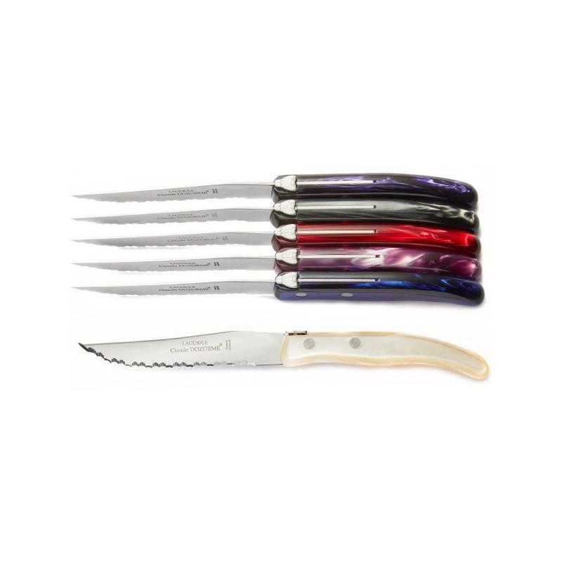 Juego de 6 cuchillos Laguiole, tonos purpuras, muy de moda. Laguiole Excelencia.