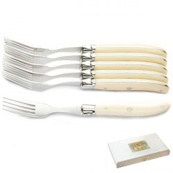 Luxury boxed set of 6 Ivoirine forks, ivory look handle
