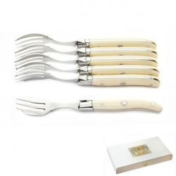 Cofanetto Excellence 6 forchette per torta (o ostriche) Ivoirine, aspetto avorio