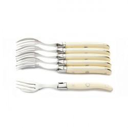Coffret Excellence 6 fourchettes à gateau (ou huître) à dessert ivoirine