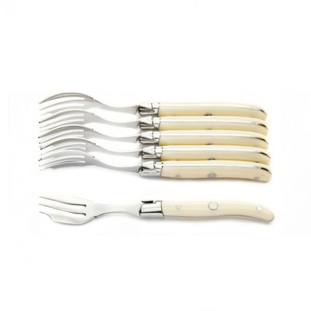 Luxury boxed set of 6 Ivoirine cake (or oyster) forks, ivory look handle forks
