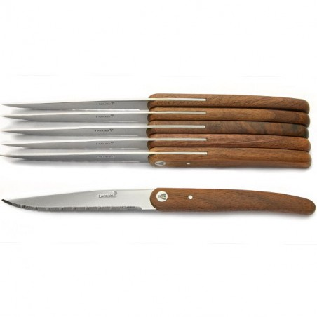 Boxed set of 6 steak knives, exotic wood, clean and modern form.