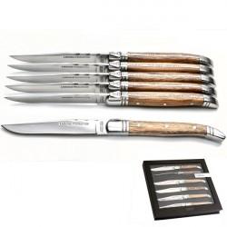 6 couteaux steak Laguiole à manche bois