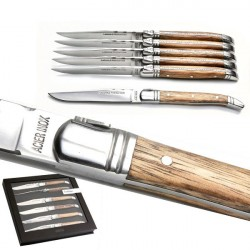6 steak knives, exotic wood handle knives, stainless steel
