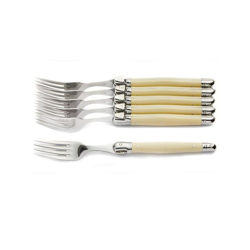 6 fourchettes  ton ivoire en coffret bois