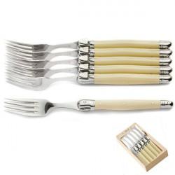 6 tenedores, marfil, regalo legno