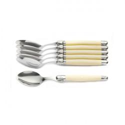 6 cucchiai Laguiole, manico in ABS color avorio, cofanetto regalo