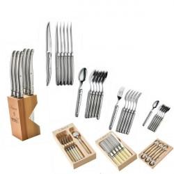 6 cucharas grandes, acero inoxidable, regalo legno