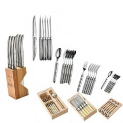 6 large sppoons, stainless steel, wooden box