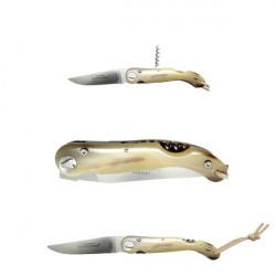 White horn sommelier knife collector's knife, with corkscrew