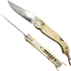 Birch wood sommelier knife collector's knife, with corkscrew