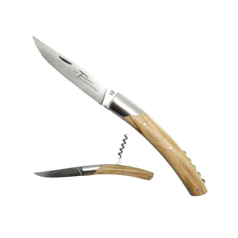 Cuchillo THIERS, manga de madera de olivo, con sacacorchos