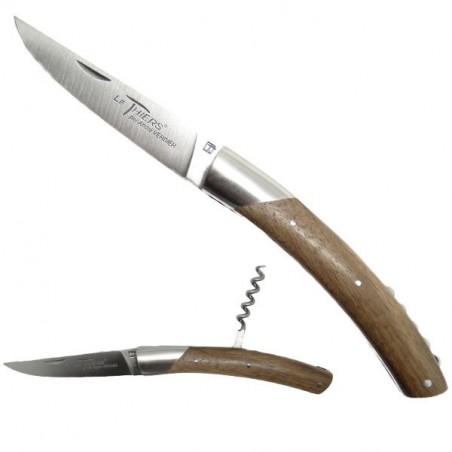 Cuchillo THIERS, manga de madera de nogal, con sacacorchos