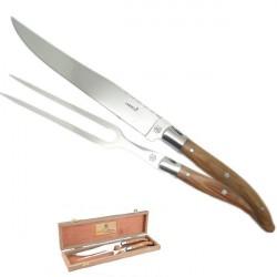 Servizio taglio di carn, manico in legno esotico