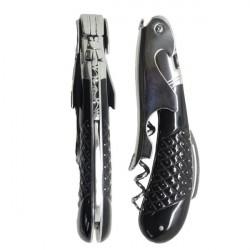 Laguiole Magnum corkscrew, structured buffalo black horn handle
