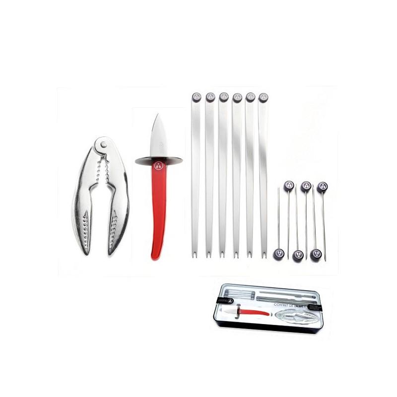 Cuchillo ostras y accesorios mariscos, regalo 14p,  Roja.