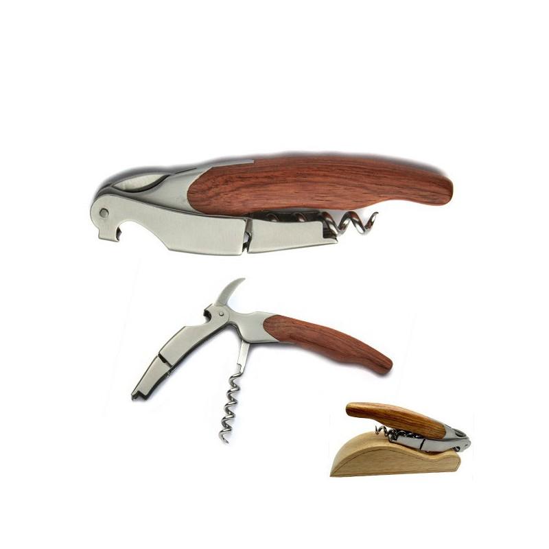Caja sacacorchos Sommelier n 2, madera tres funciones, doppia leva, con un caso
