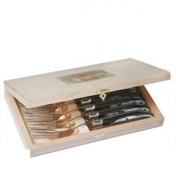 Coffret Excellence 6 fourchettes Corne noire véritable - inox
