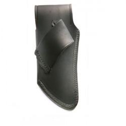 étui cuir vachette noir avec logo incrusté - forme courbée