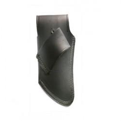 Petit étui cuir vachette noir avec logo incrusté - forme courbée