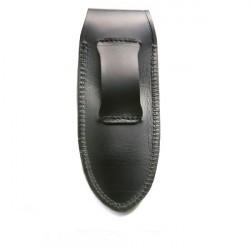 étui cuir vachette noir avec logo incrusté - forme droite