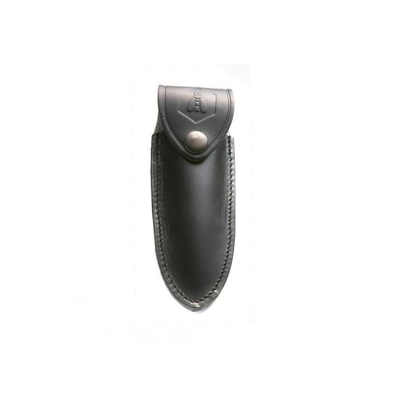 Petit étui cuir vachette noir avec logo incrusté - forme droite