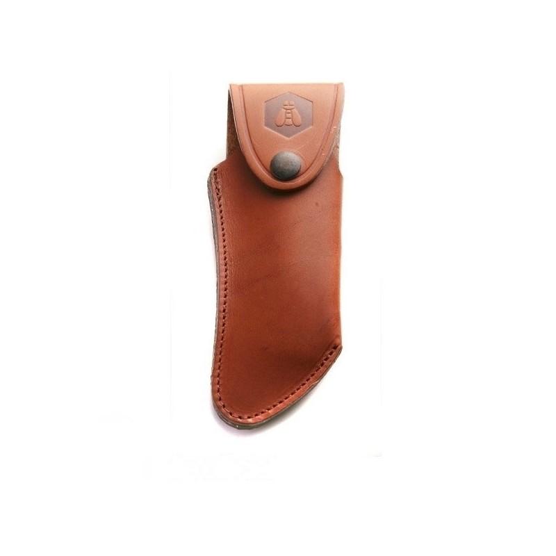 étui cuir vachette fauve avec logo incrusté - forme courbée