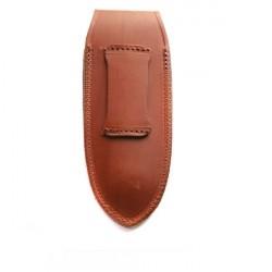 étui cuir vachette fauve avec logo incrusté - forme droite