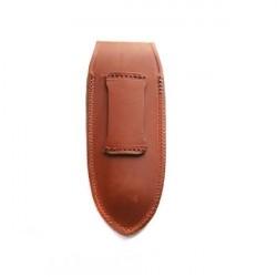 Petit étui cuir vachette fauve avec logo incrusté - forme droite
