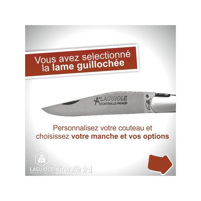 Couteau création Laguiole lame guillochée