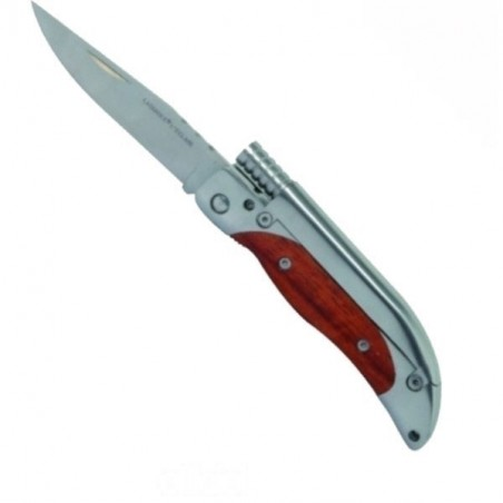 Couteau commando bois et métal équipé d'une pierre de feu