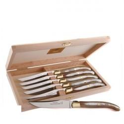 Coffret Grand Luxe 6 couteaux manche Corne claire véritable