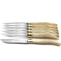 Coffret Grand Luxe 6 couteaux manche Nacrine marbrée naturelle