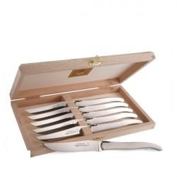 Coffret Grand Luxe 6 couteaux manche inox massif poli