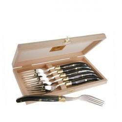 Coffret Grand Luxe 6 fourchettes manche Corne Noire véritable