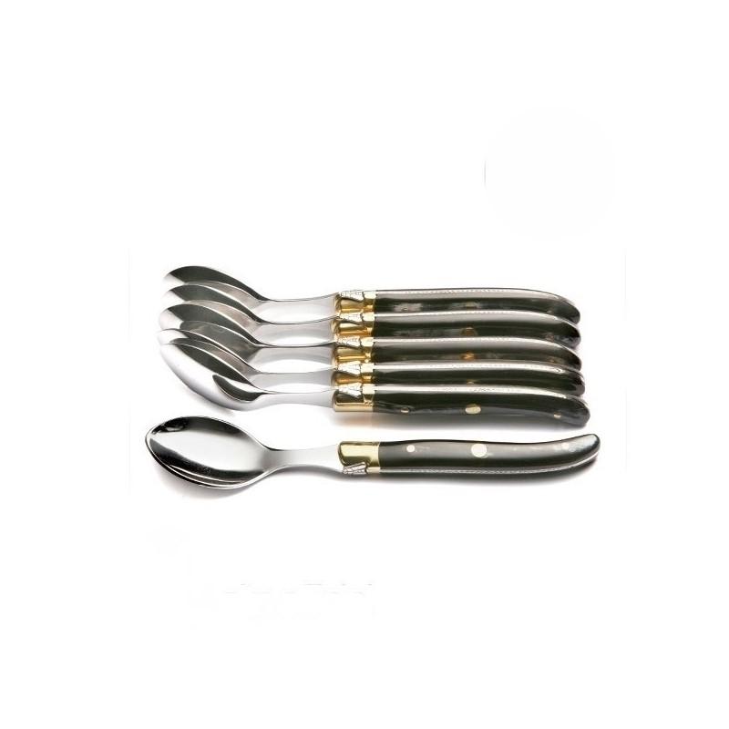 Coffret Grand Luxe 6 petites cuillères manche Corne Noire véritable