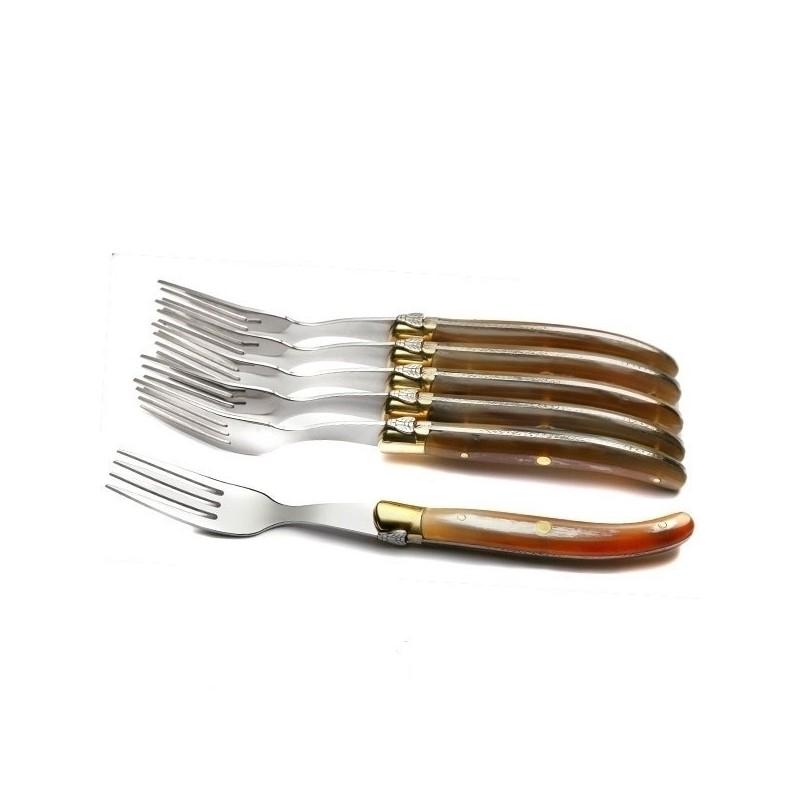 Coffret Grand Luxe 6 fourchettes manche Corne claire véritable