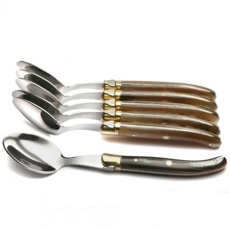 Coffret Grand Luxe 6 grandes cuillères manche Corne claire véritable